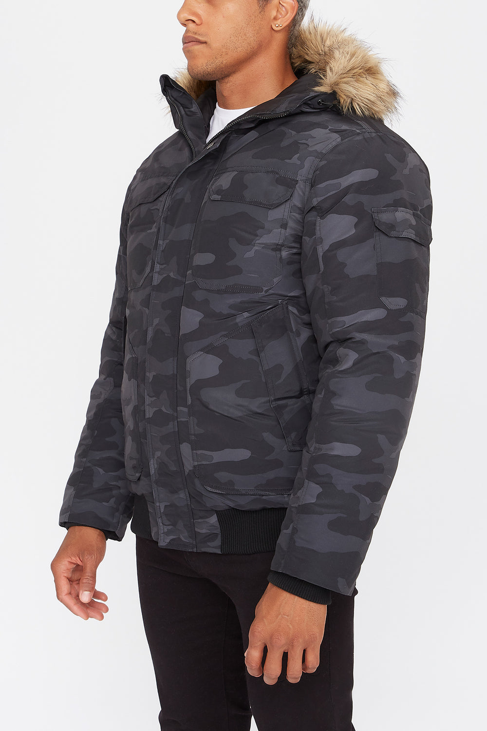 West49 Poly-Fill Bomber Jacket Black with White