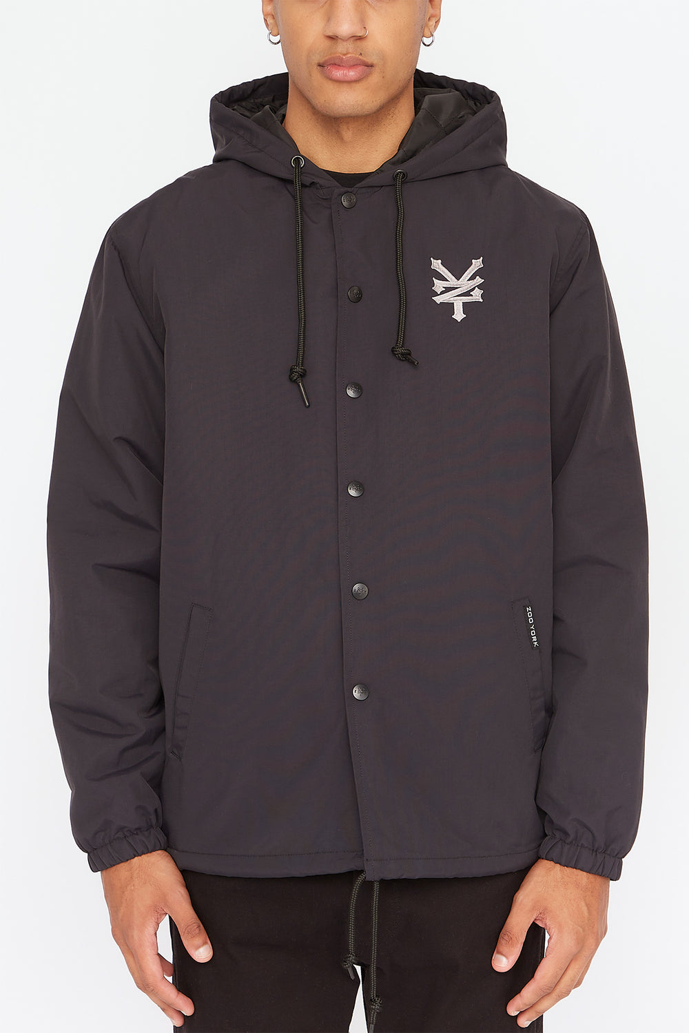 Zoo York Mens Hooded Coach Jacket Black