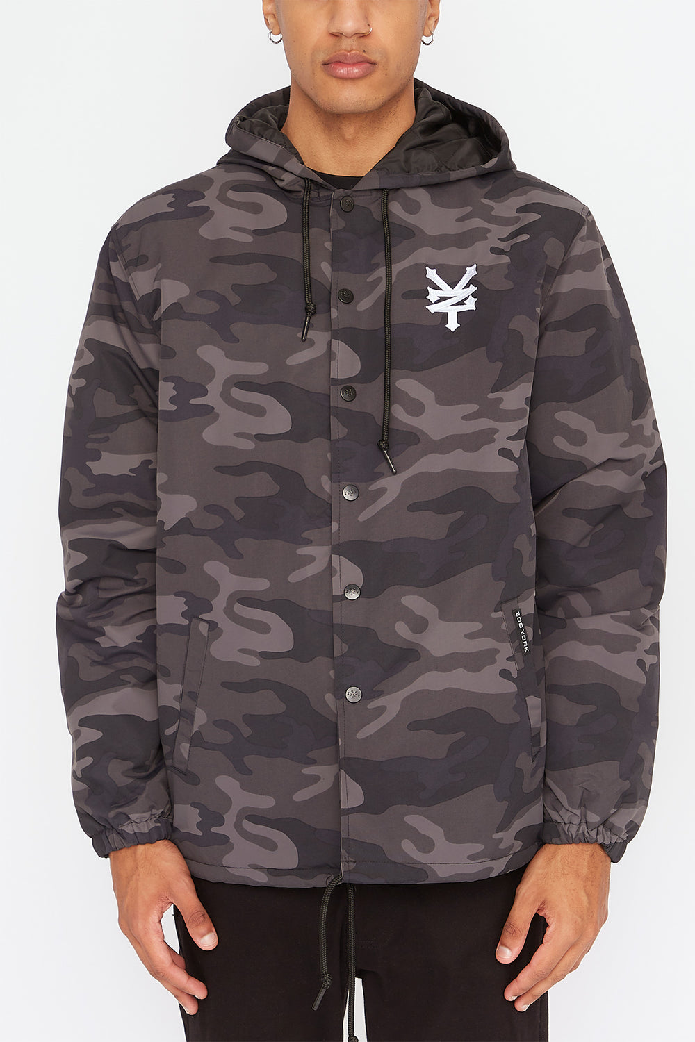 Zoo York Mens Hooded Coach Jacket Black with White