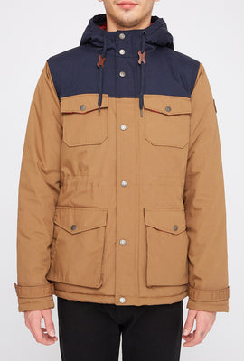West49 Mens Colour Block 4-Pocket Parka