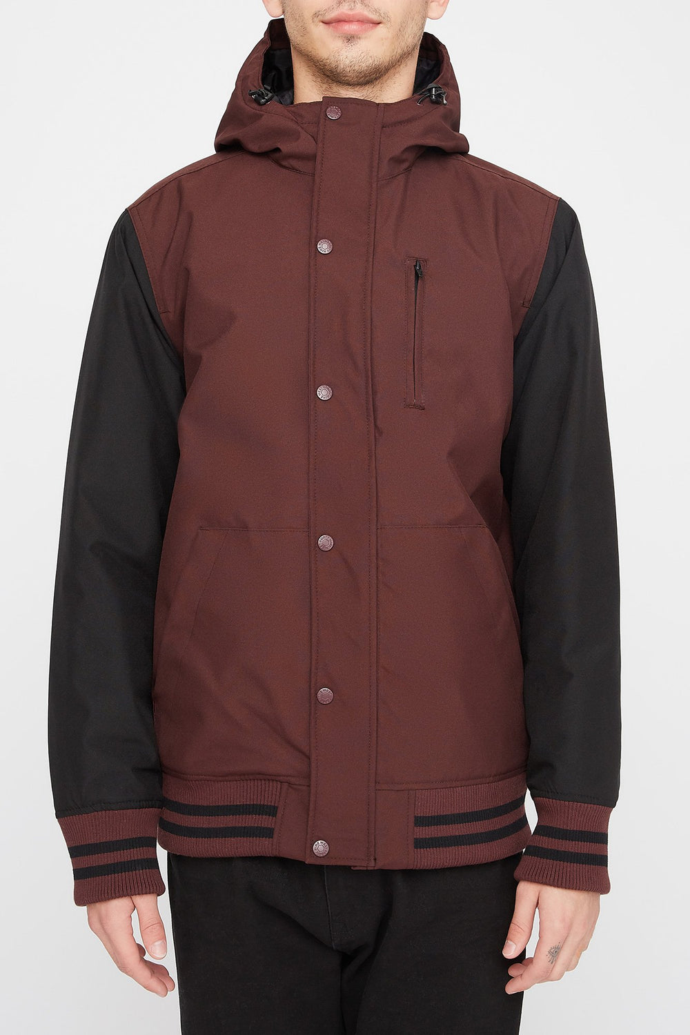 West49 Mens Colour Block Varsity Jacket Burgundy