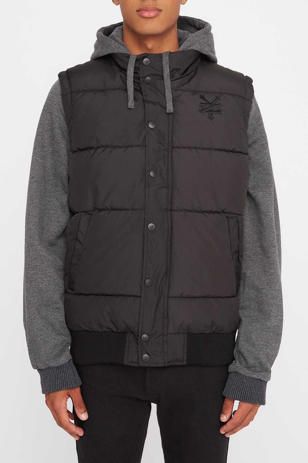 Zoo York Mens Hooded Puffer Vest Black