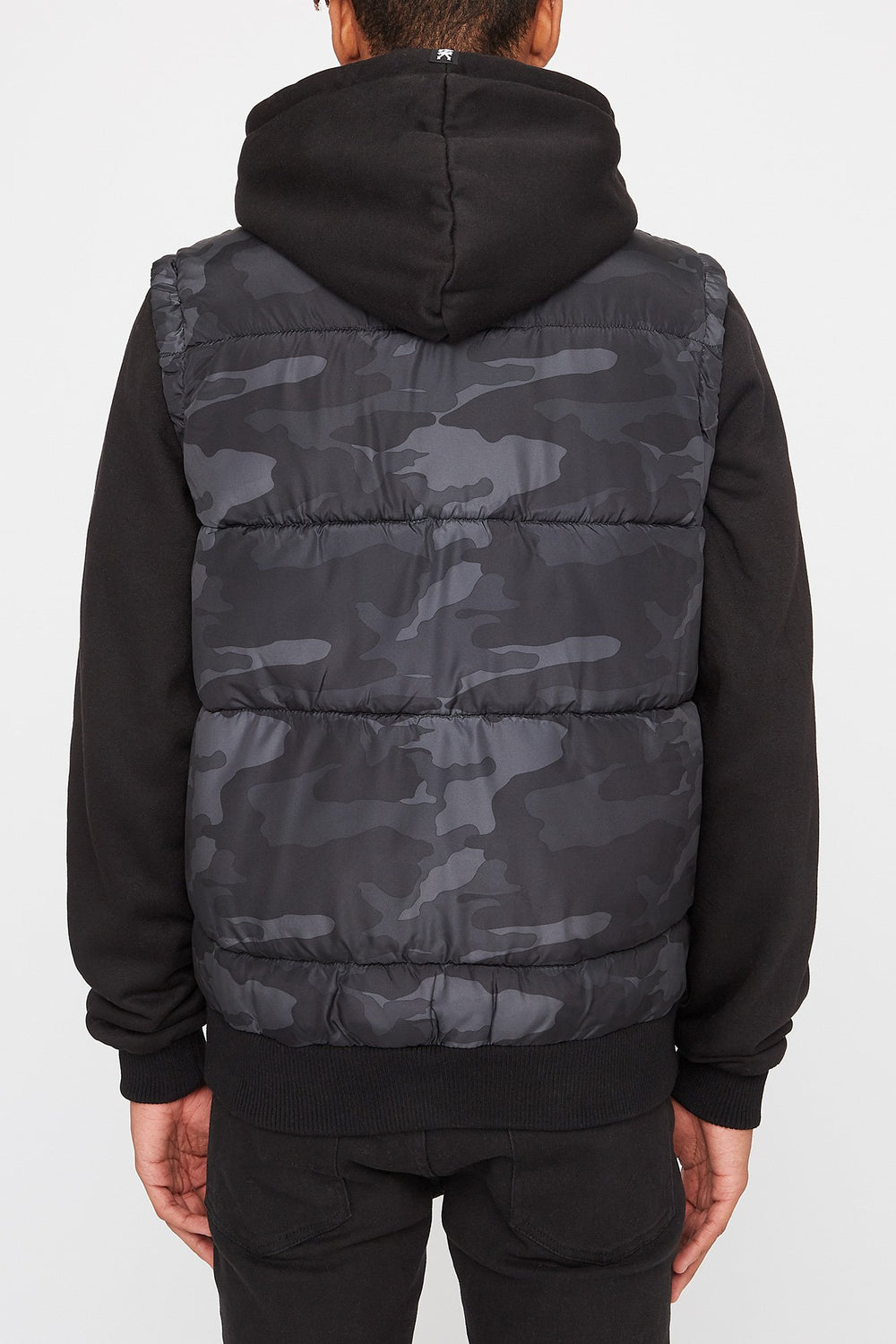 Zoo York Mens Hooded Puffer Vest Black with White