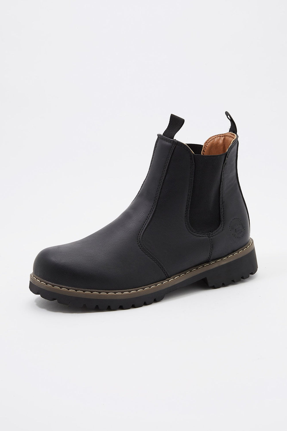 Storm Mountain Mens Sherpa-Lined Pull-On Chelsea Boots Black