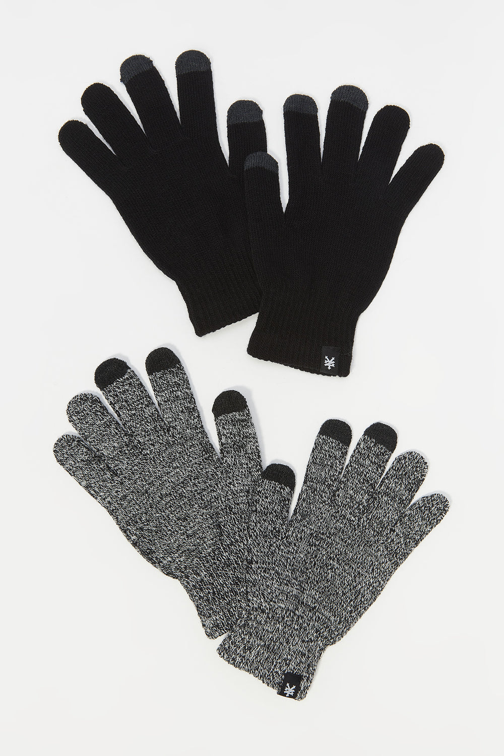 Zoo York Mens Touch Screen Gloves 2-Pack Black with White