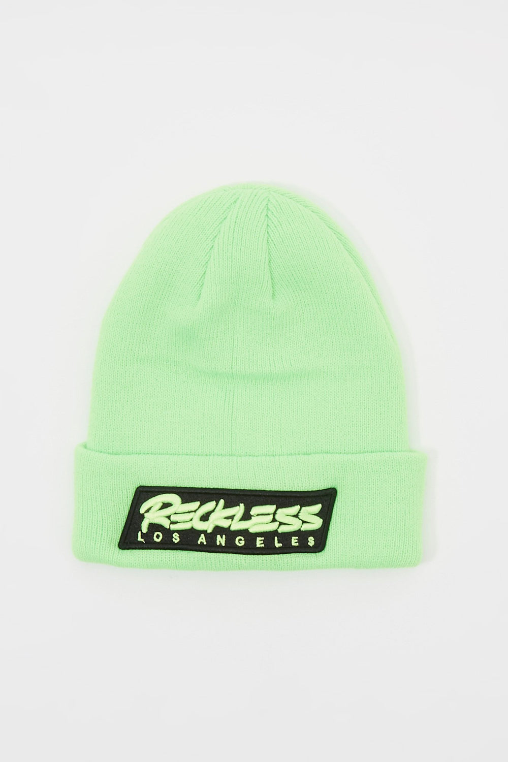 Young & Reckless Mens Neon Patch Logo Beanie Green