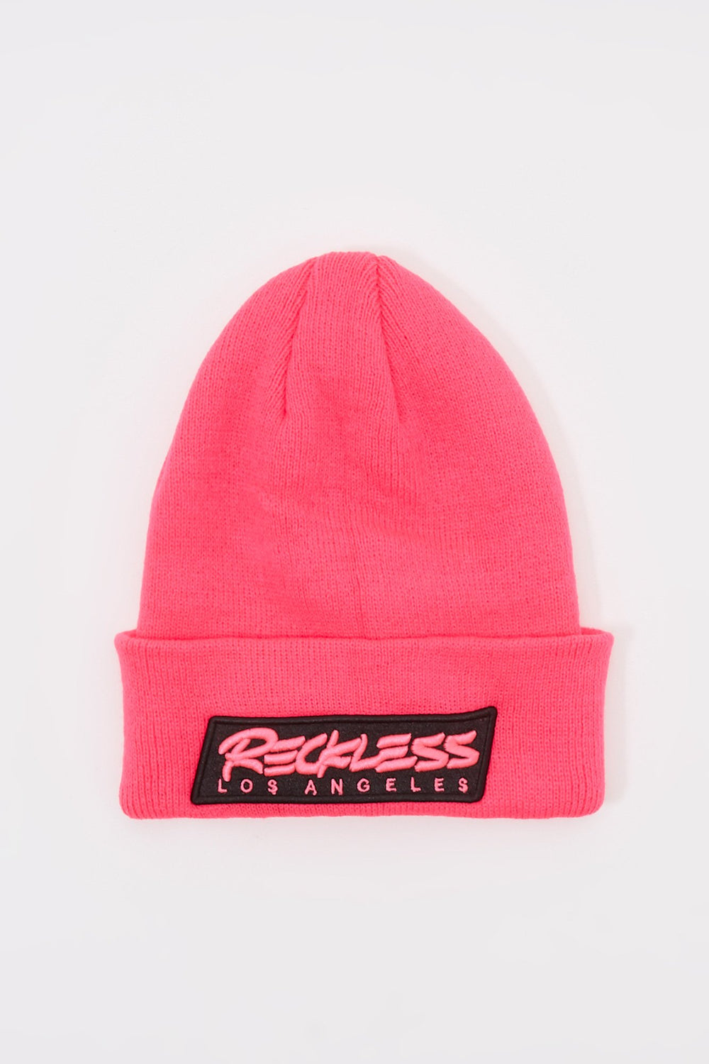 Young & Reckless Mens Neon Patch Logo Beanie Pink
