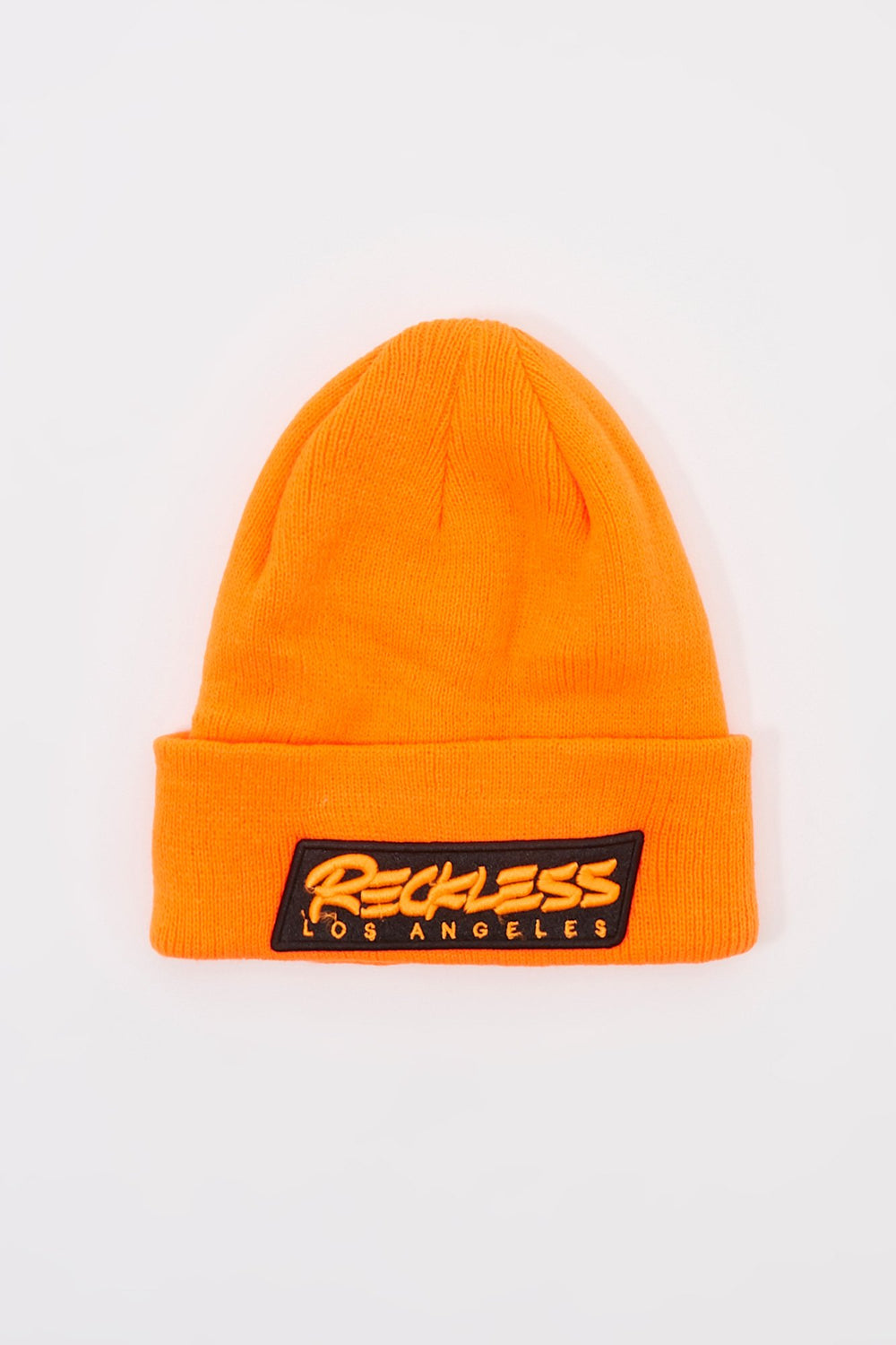 Young & Reckless Mens Neon Patch Logo Beanie Orange