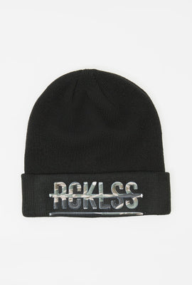 Young & Reckless Mens Camo Strikethrough Logo Beanie