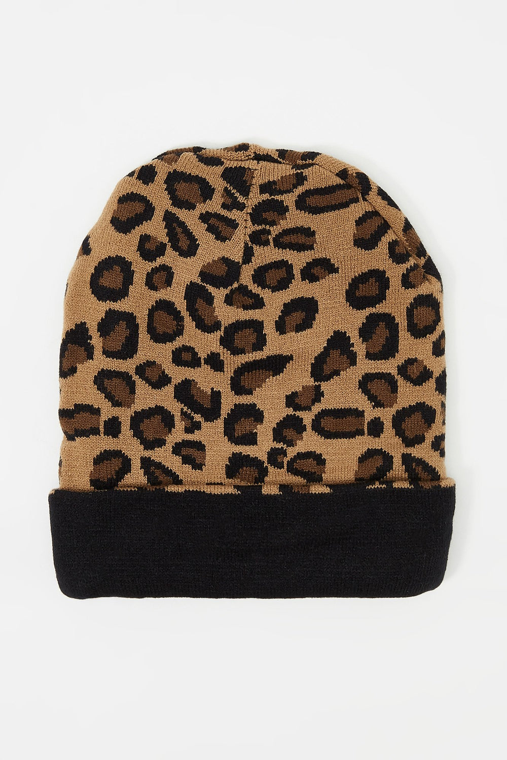 Young & Reckless Mens Leopard Reversible Beanie Black