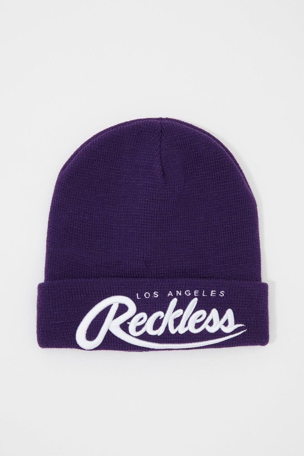 Young & Reckless Mens Embroidered Beanie Purple