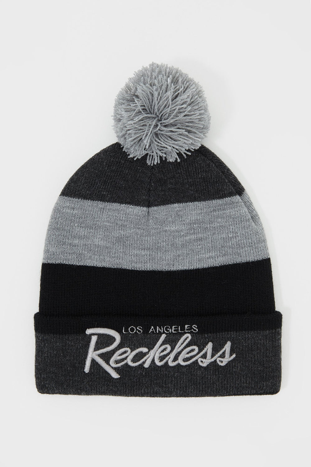 Tuque Rayée Young & Reckless Homme Gris Noir