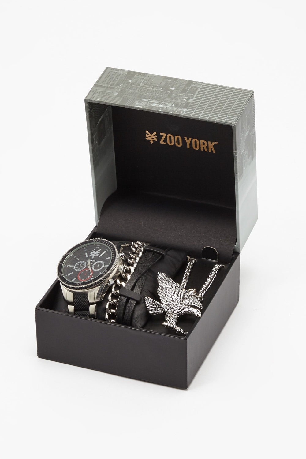 Zoo York Mens Silver-Tone And Black Watch Silver