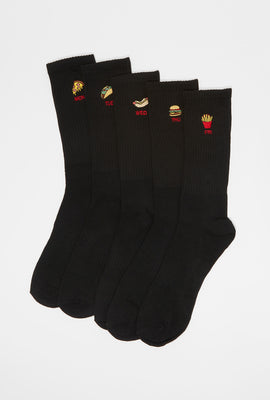 West49 Mens Fast Food Crew Socks (5-Pack)