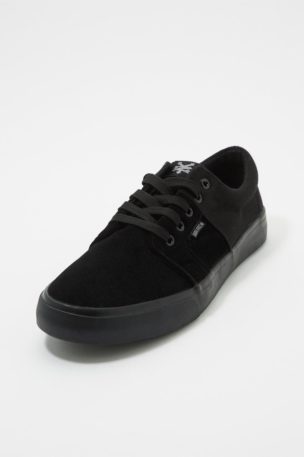 Zoo York Boys All Black Stack Lace-Up Canvas Shoes Black with White