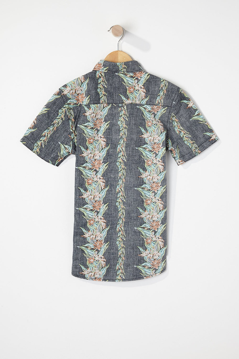West49 Boys Floral Button-Up Heather Grey