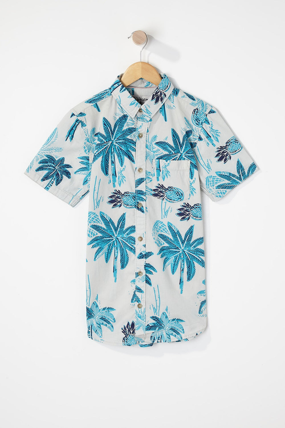West49 Boys Floral Button-Up Teal