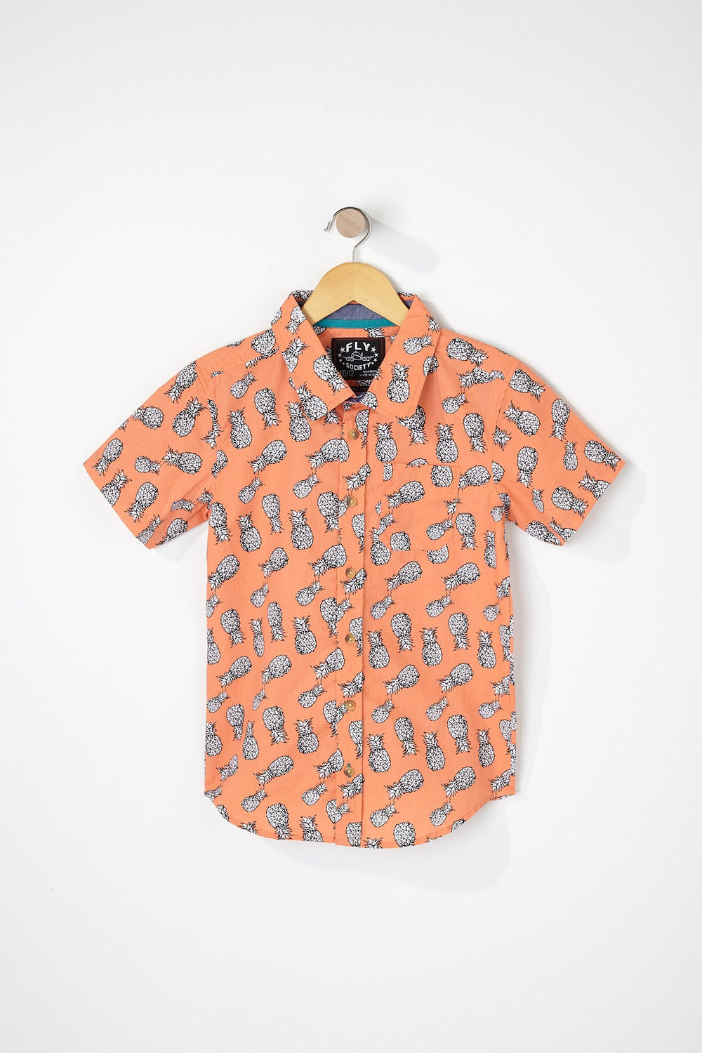 West49 Boys Pineapple Button-Up Shirt Orange