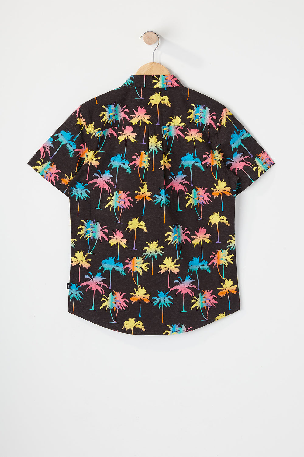 West49 Boys Neon Palm Tree Button-Up Shirt Black