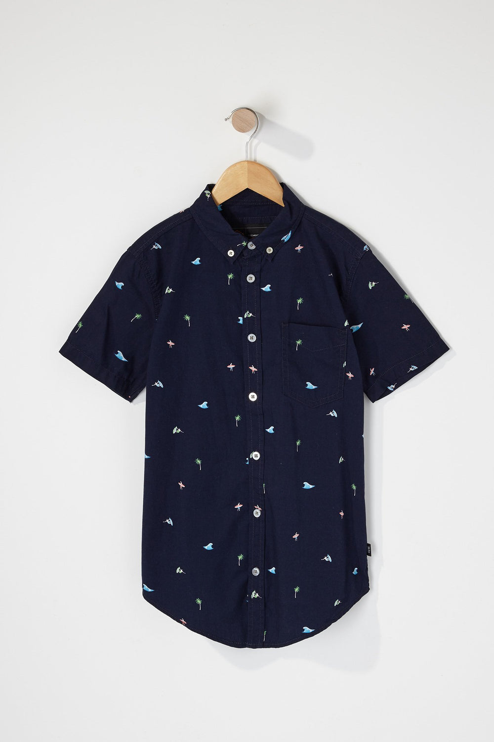 West49 Boys Tropical Ditsy Print Button Up Shirt Navy