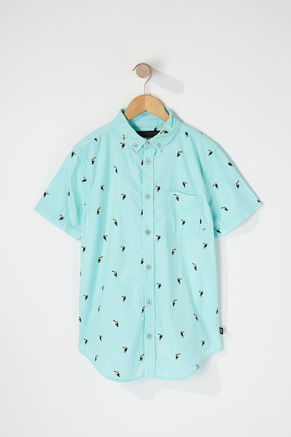 West49 Boys Tropical Ditsy Print Button Up Shirt Sage