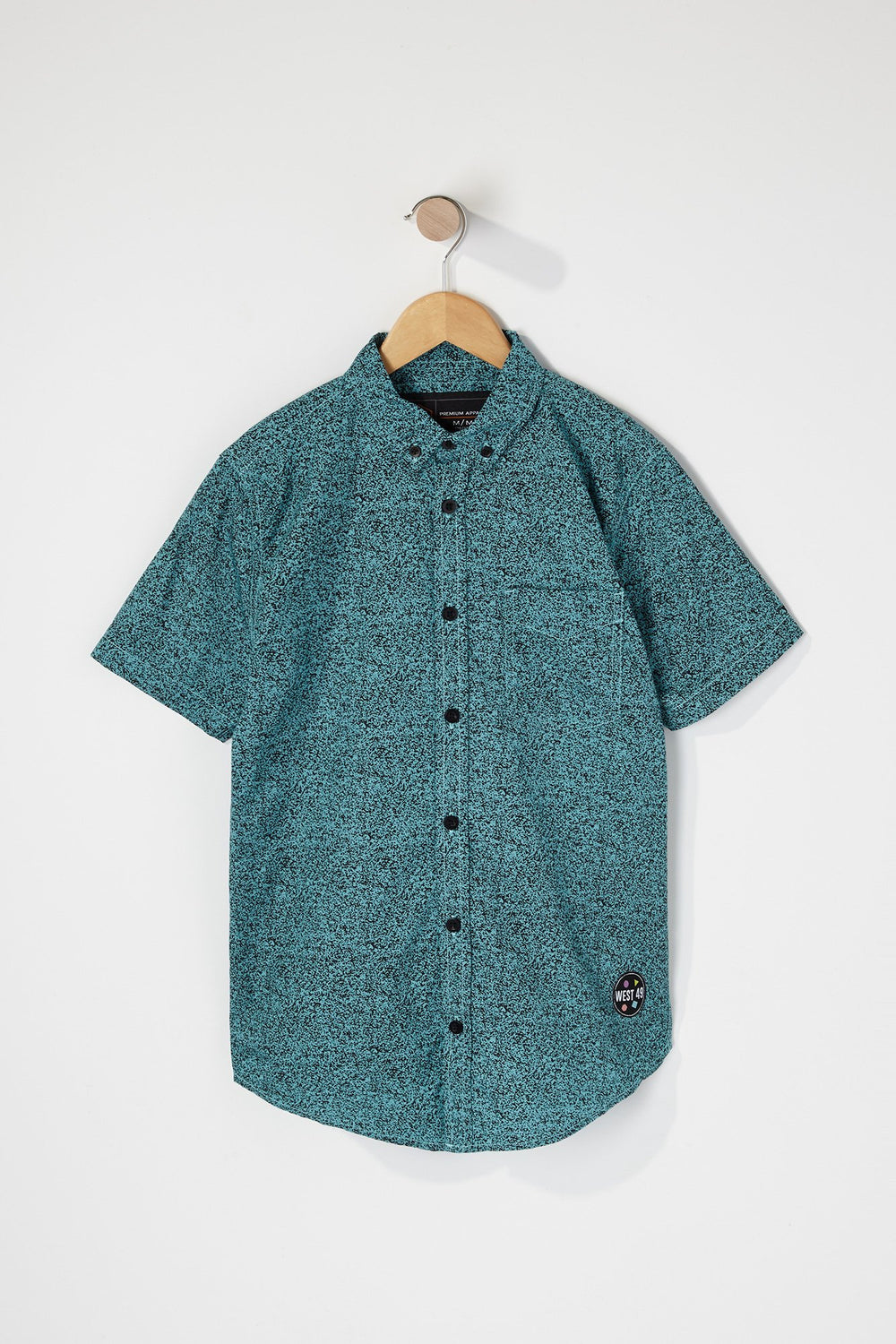 West49 Boys Cotton Speckle Print Button Up Shirt Sage