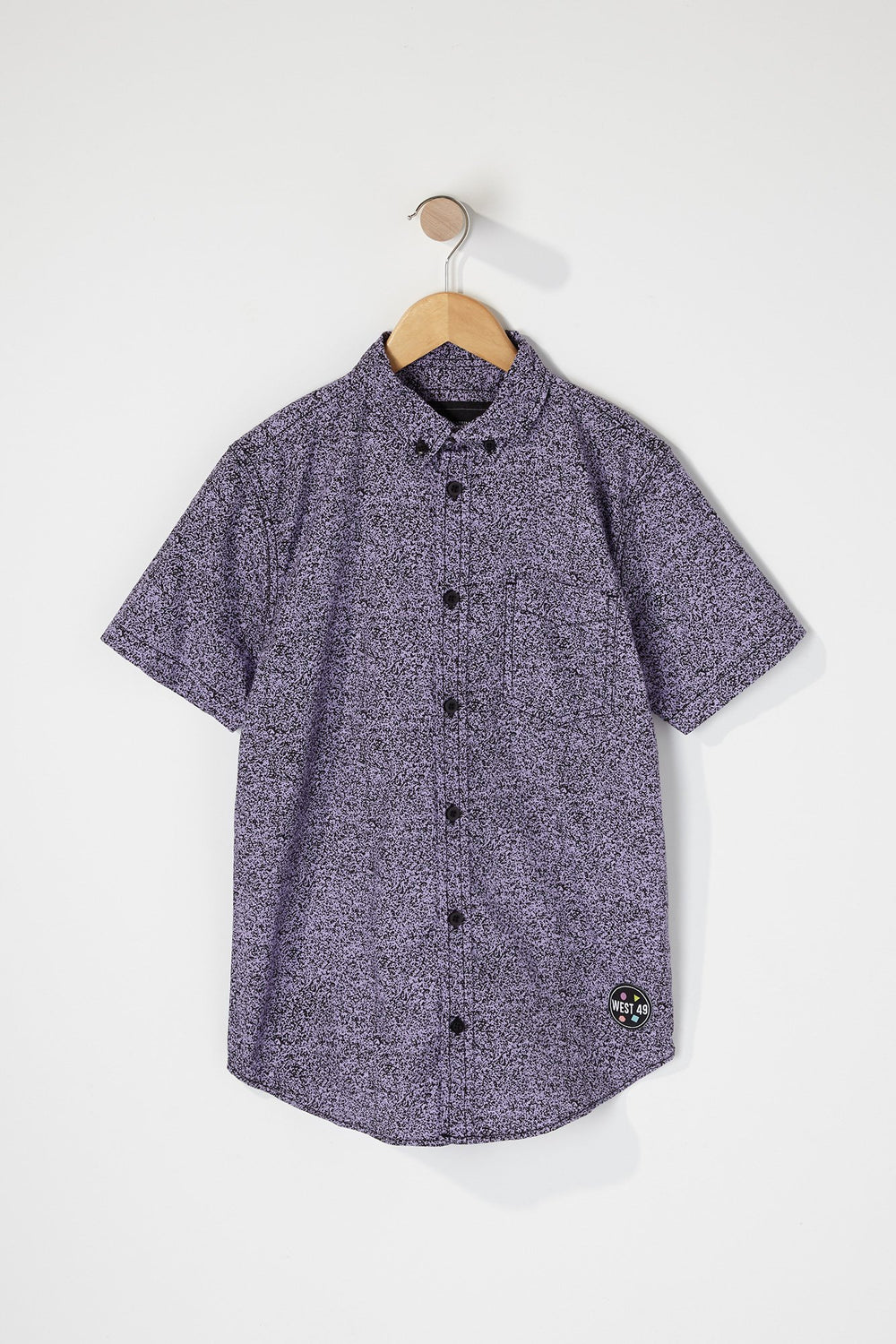 West49 Boys Cotton Speckle Print Button Up Shirt Purple