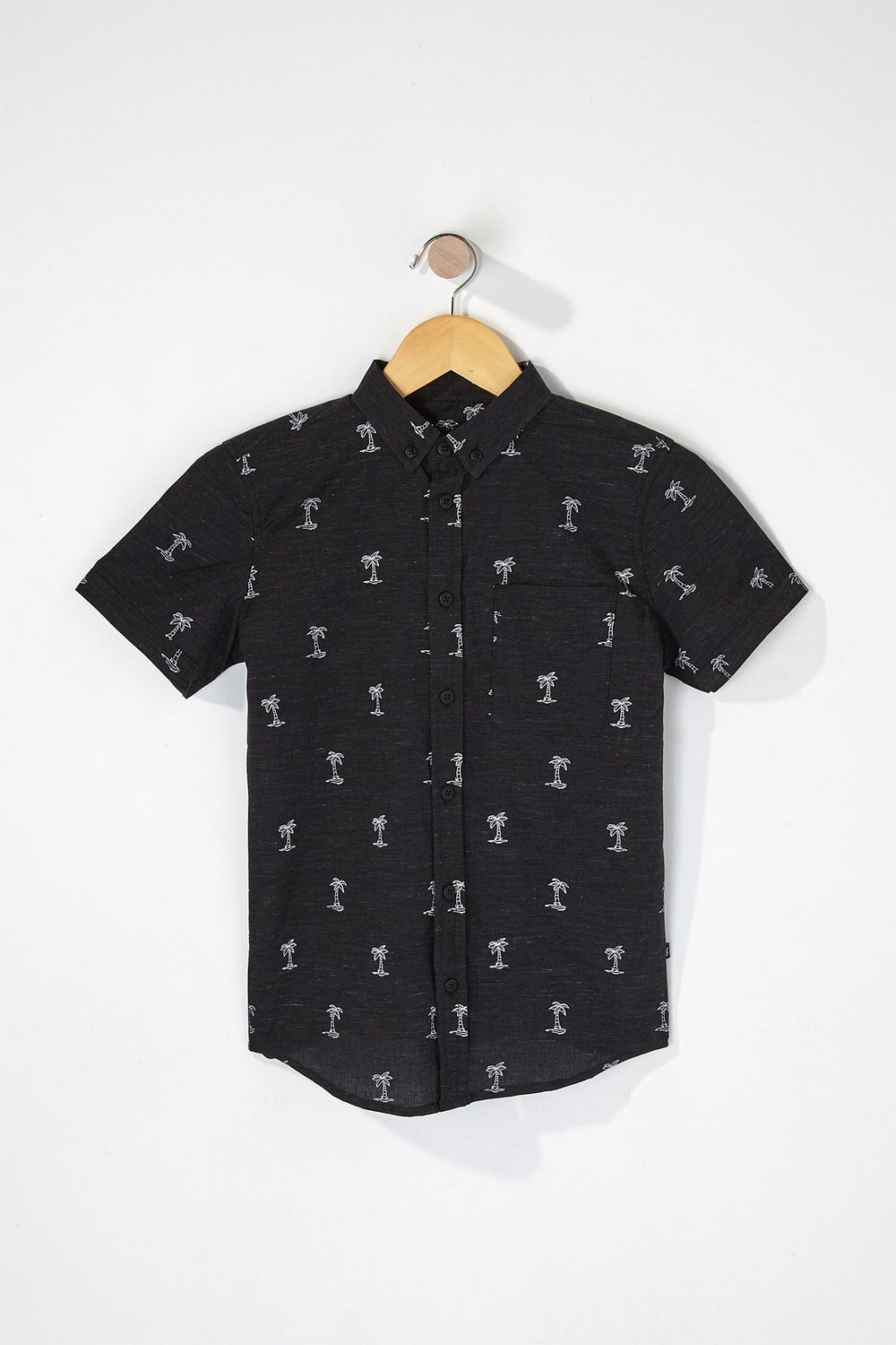 West49 Boys Palm Tree Button-Up Shirt Black
