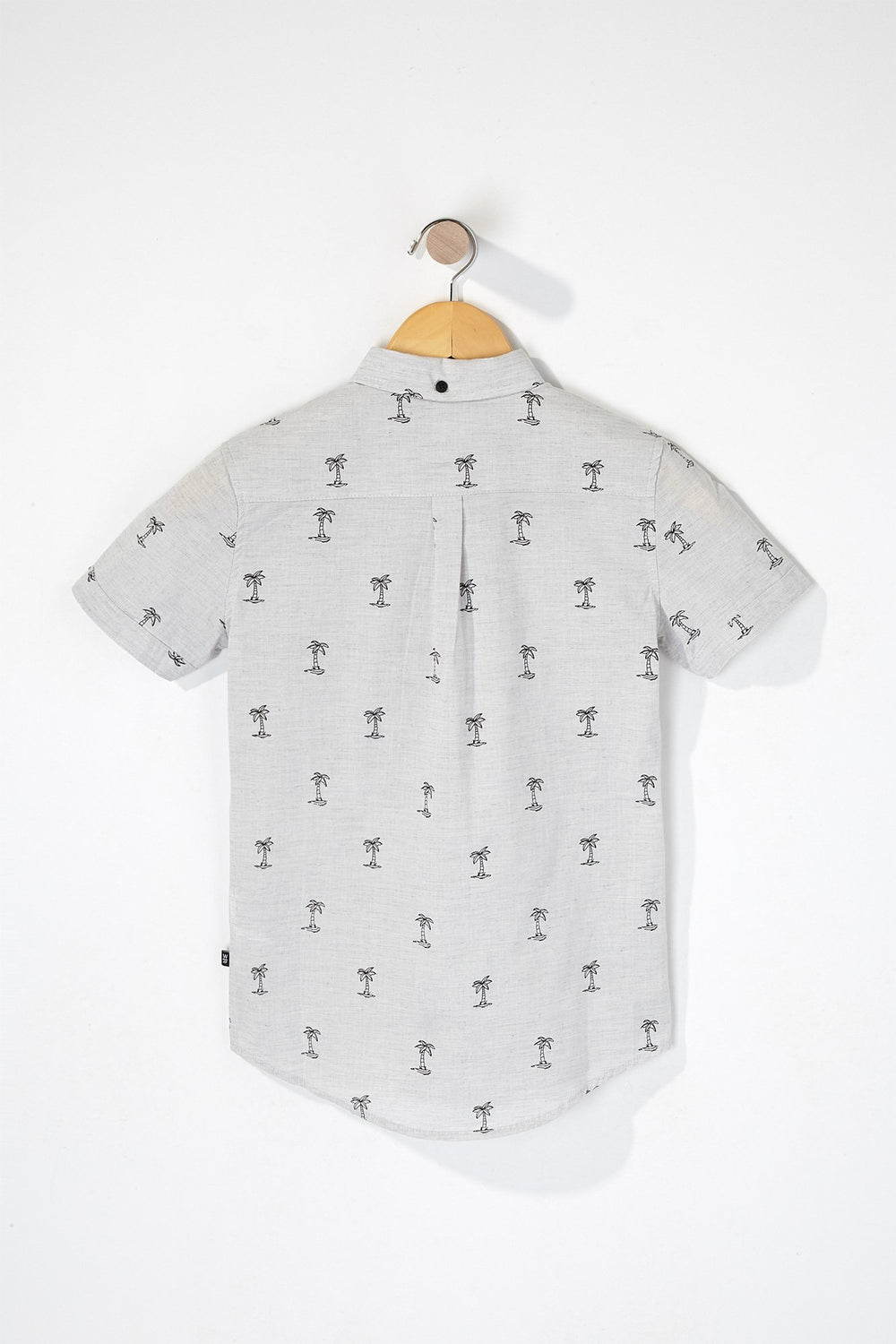 West49 Boys Palm Tree Button-Up Shirt Heather Grey