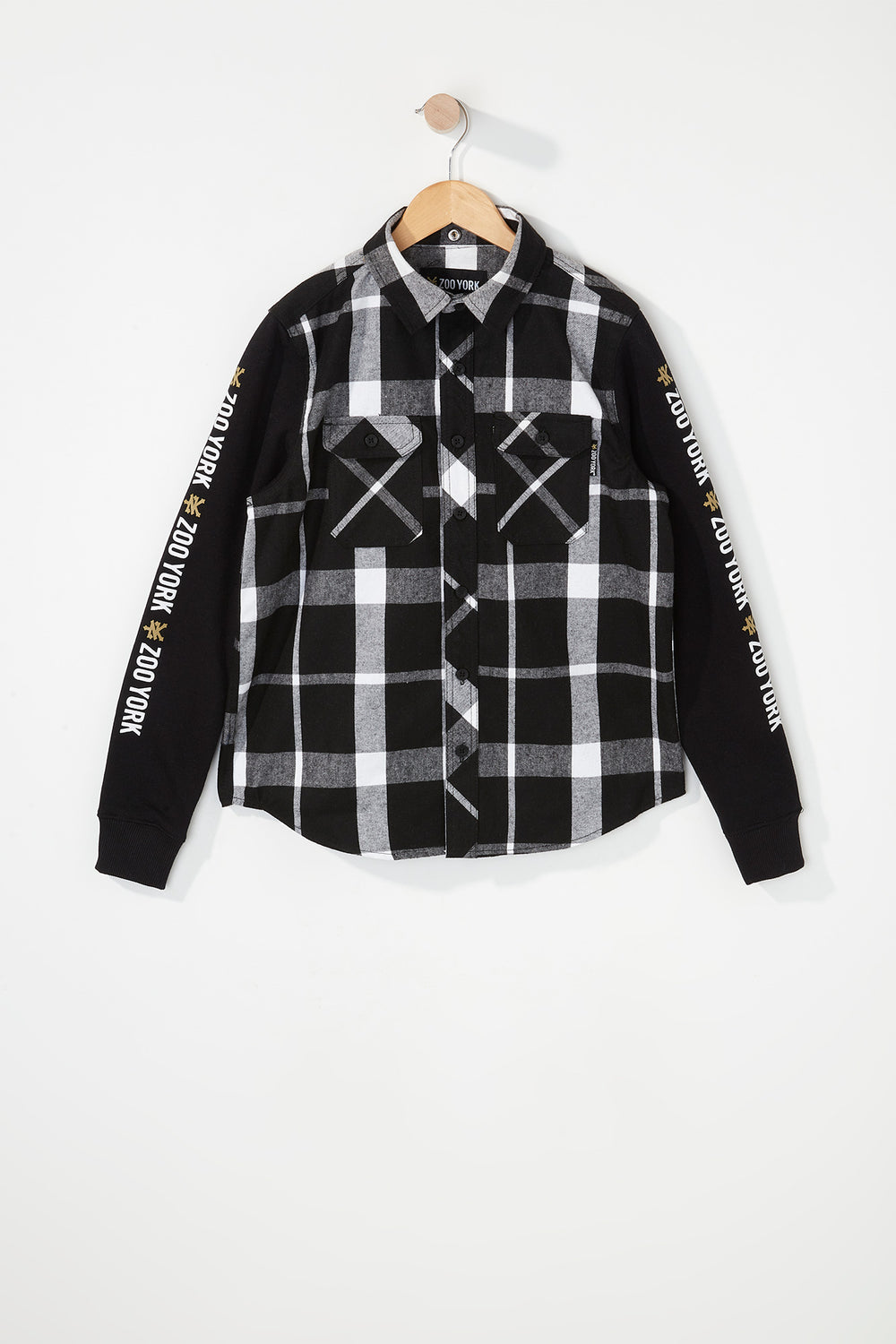 Zoo York Boys Hooded Flannel Button-Up Shirt White