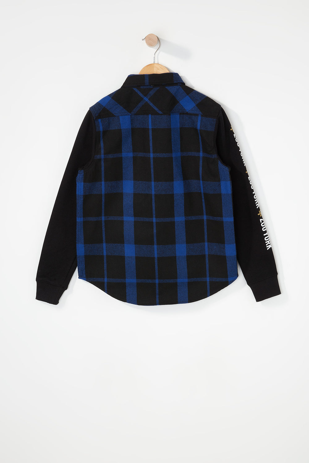 Zoo York Boys Hooded Flannel Button-Up Shirt Blue