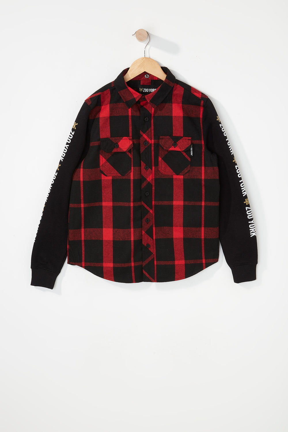 Zoo York Boys Hooded Flannel Button-Up Shirt Red