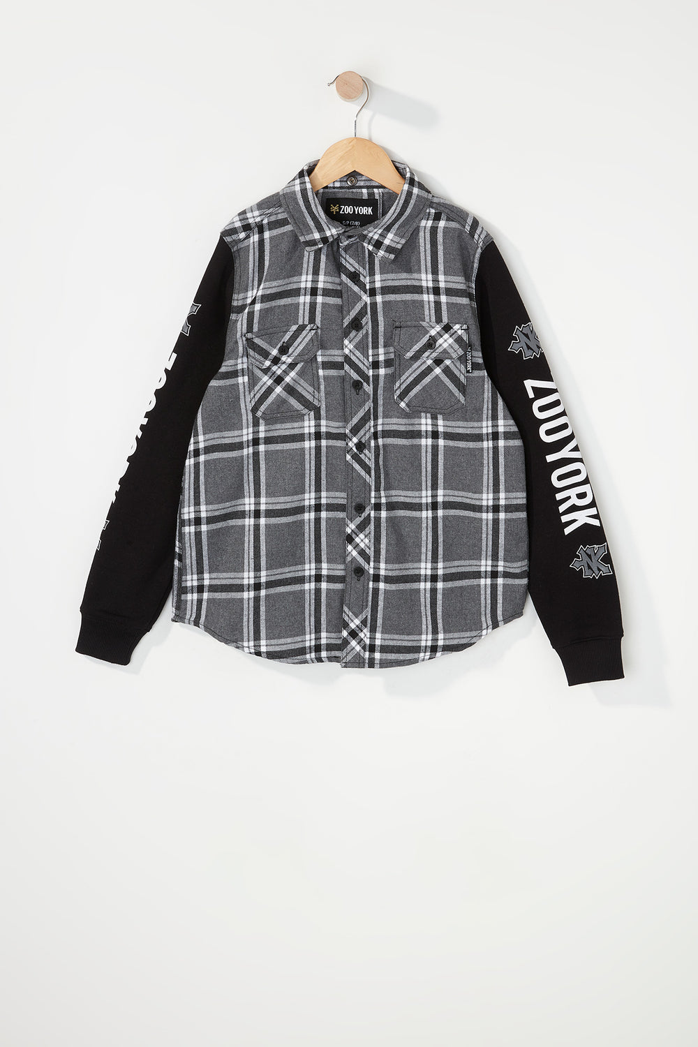Zoo York Boys Hooded Flannel Button-Up Shirt Heather Grey