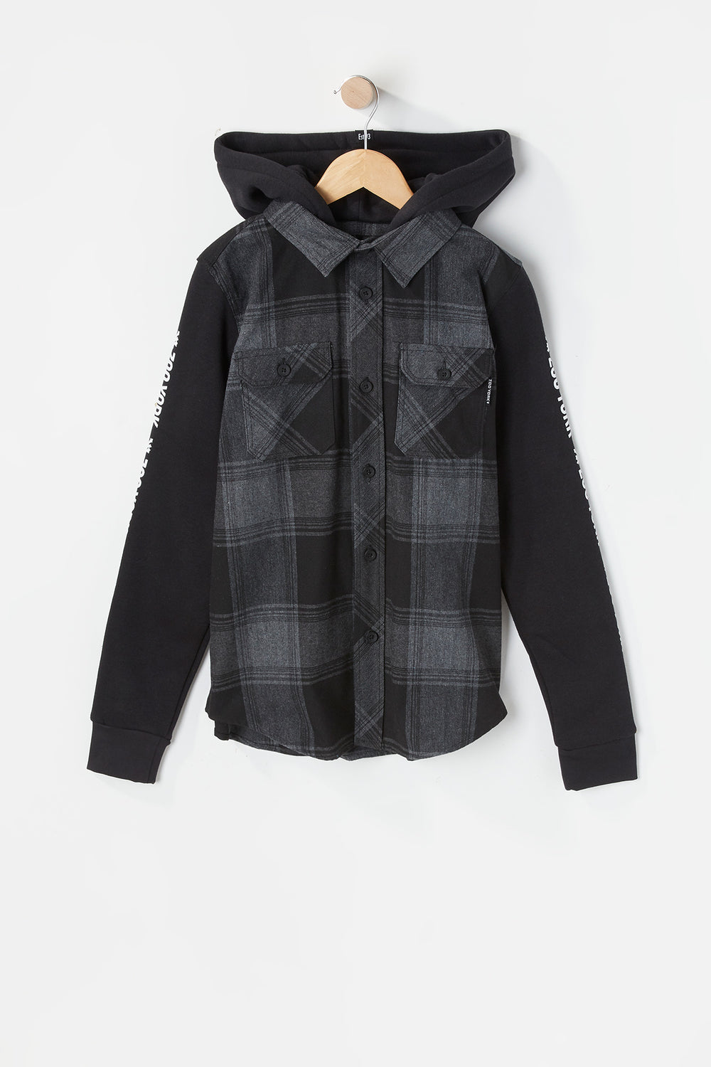 Zoo York Youth Hooded Flannel Button-Up Charcoal