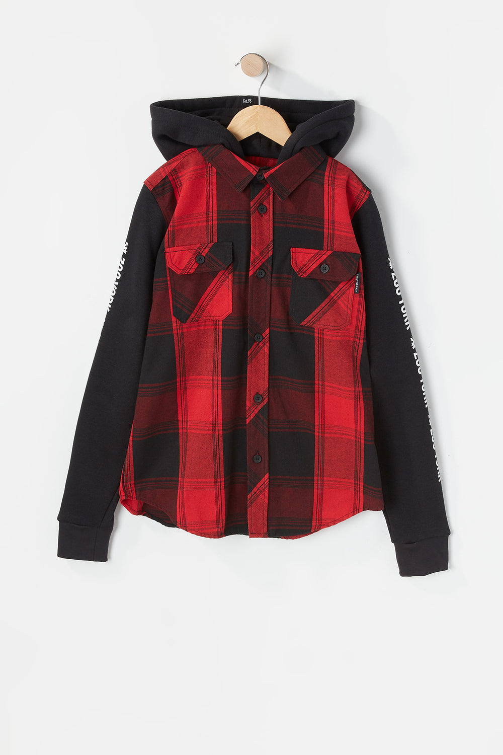 Zoo York Youth Hooded Flannel Button-Up Red