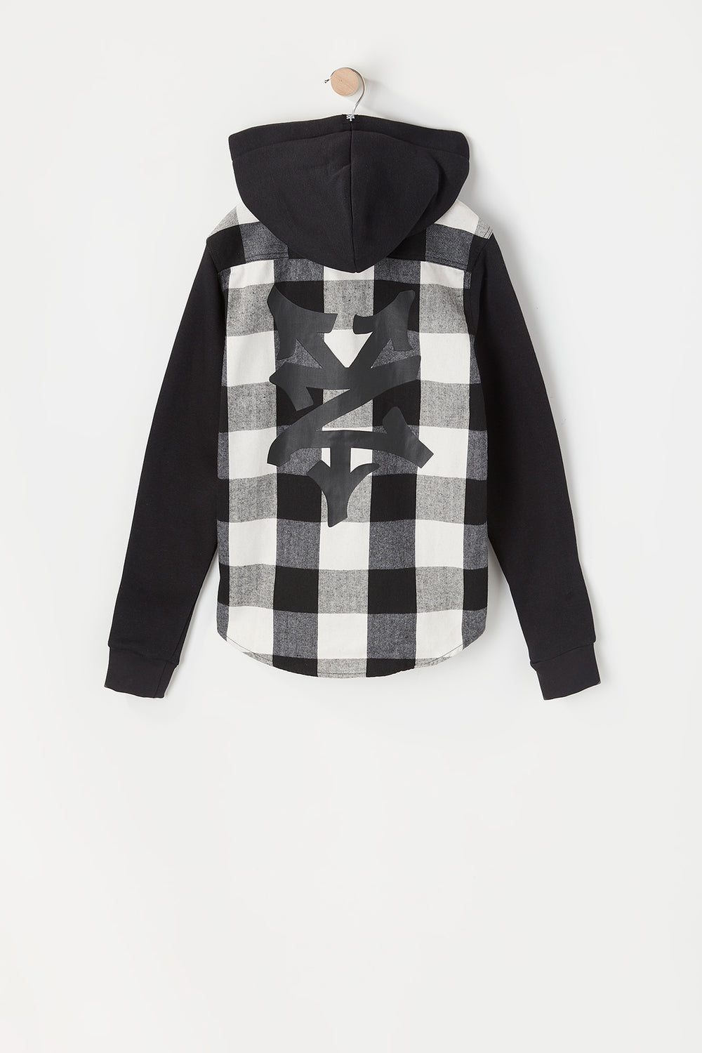 Zoo York Youth Hooded Flannel Button-Up Shirt White