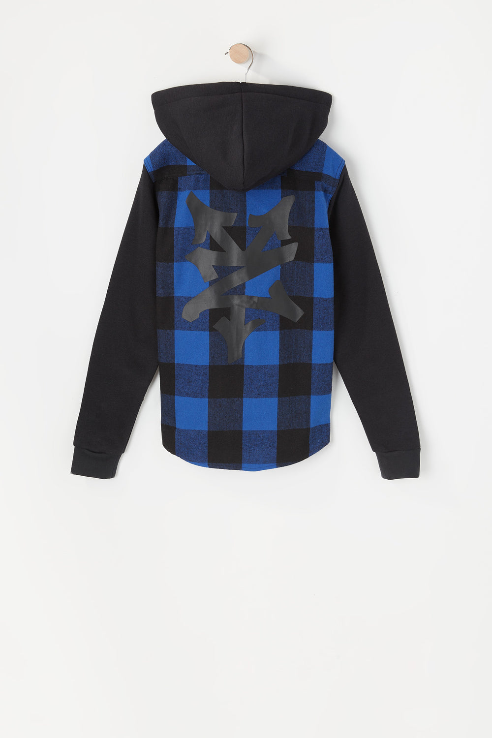 Zoo York Youth Hooded Flannel Button-Up Shirt Blue