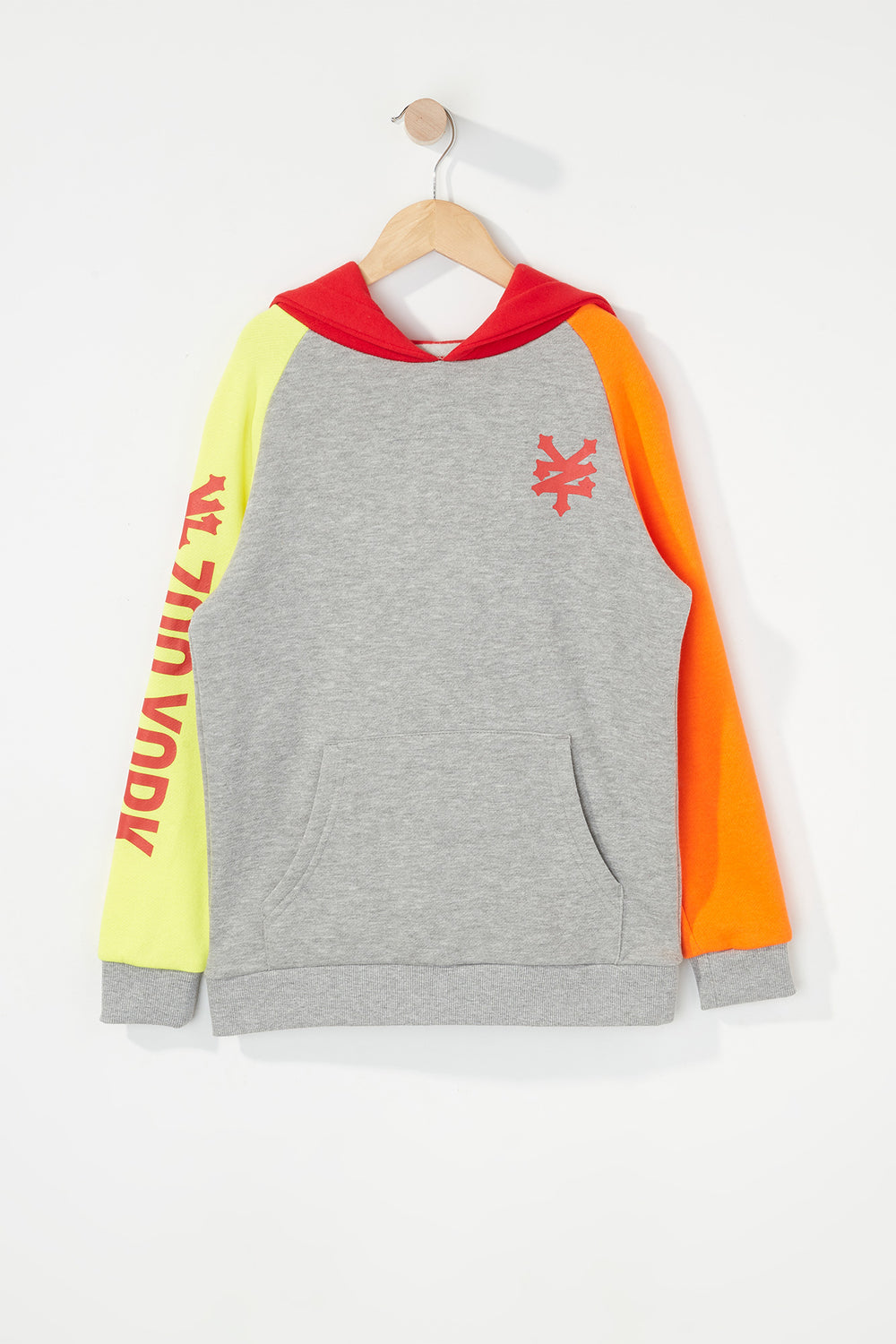 Zoo York Boys 90s Style Colour Block Hoodie Heather Grey