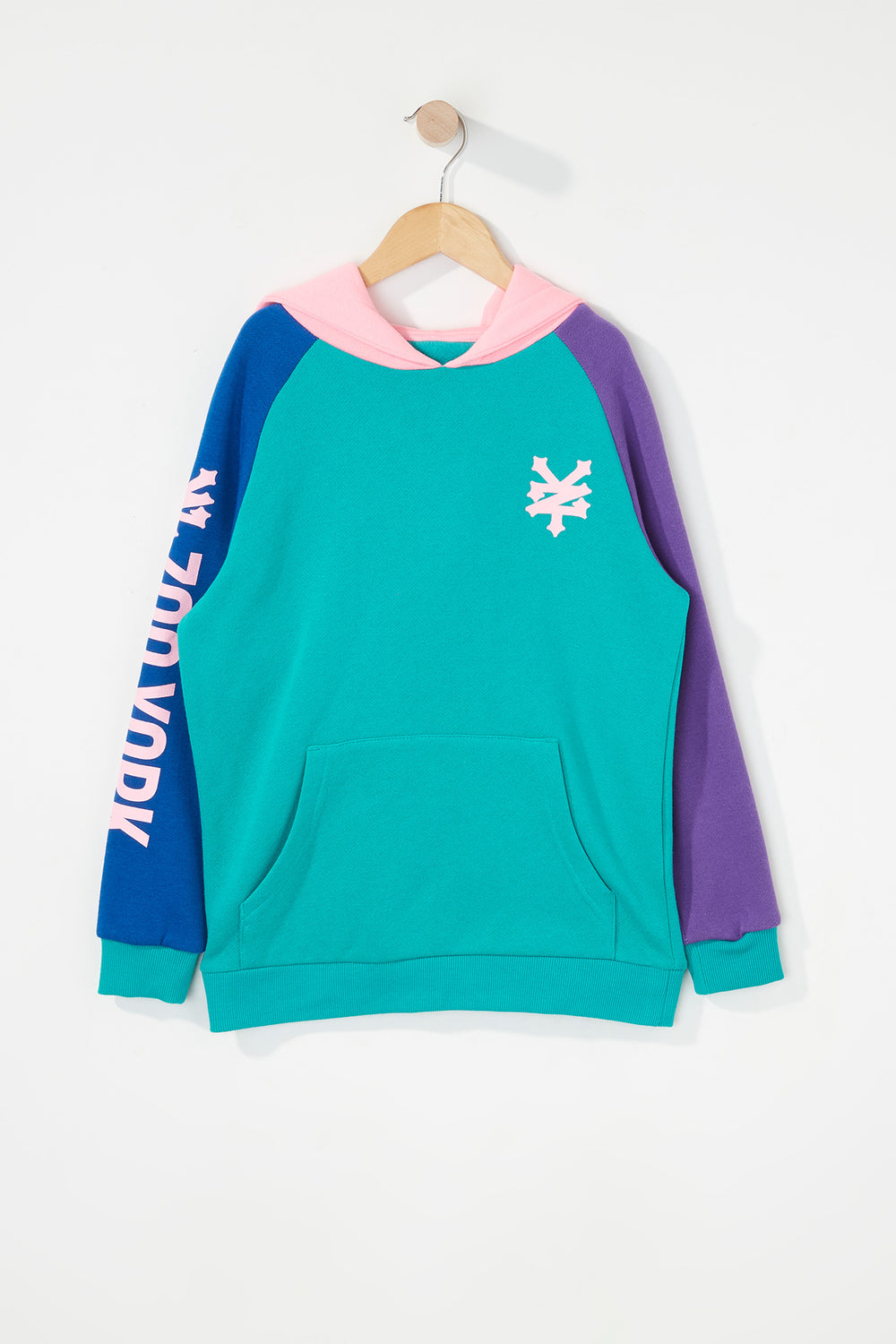 Zoo York Boys 90s Style Colour Block Hoodie Jade