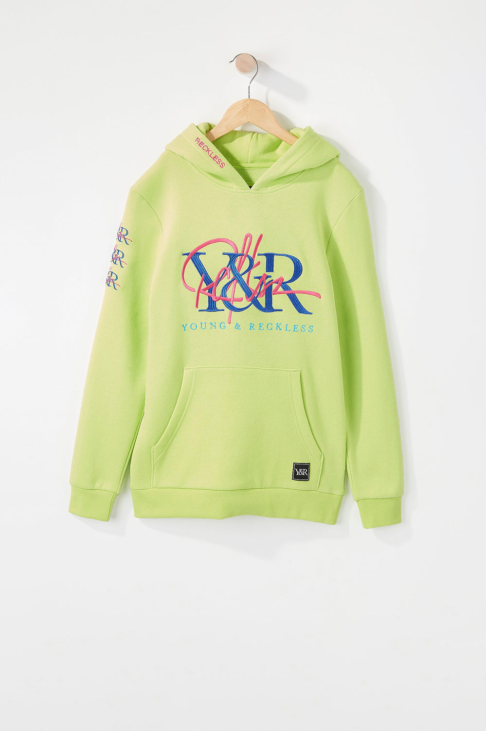 Young & Reckless Boys Cursive Logo Hoodie Neon Green
