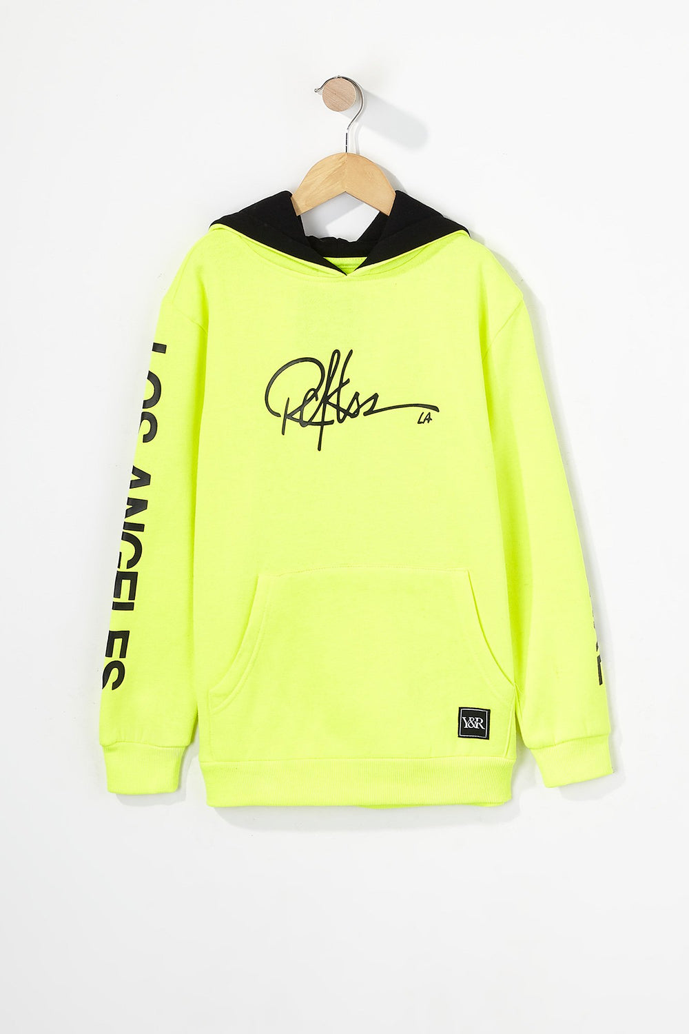 Young & Reckless Boys LA Neon Popover Hoodie Neon Yellow