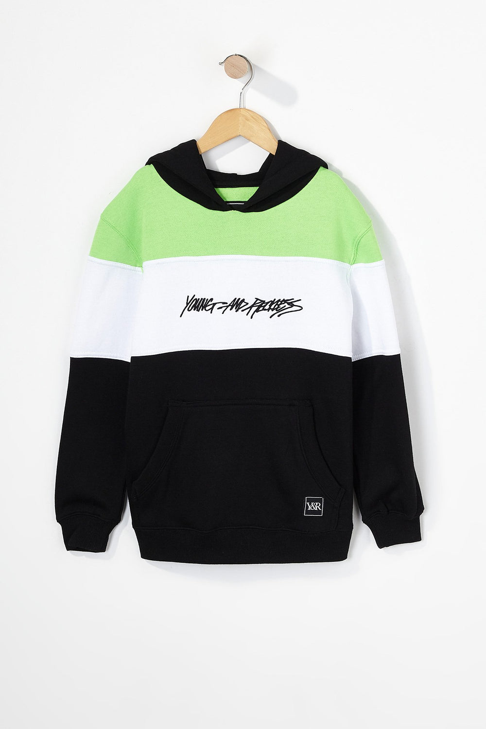 Young & Reckless Boys Neon Colour Block Popover Hoodie Black