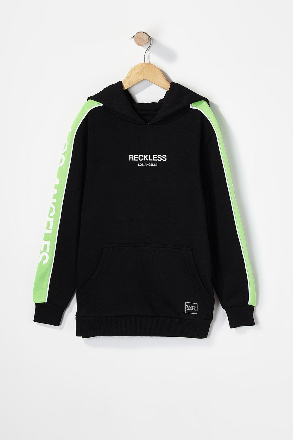 Young & Reckless Boys LA Neon Side Tape Popover Hoodie Black