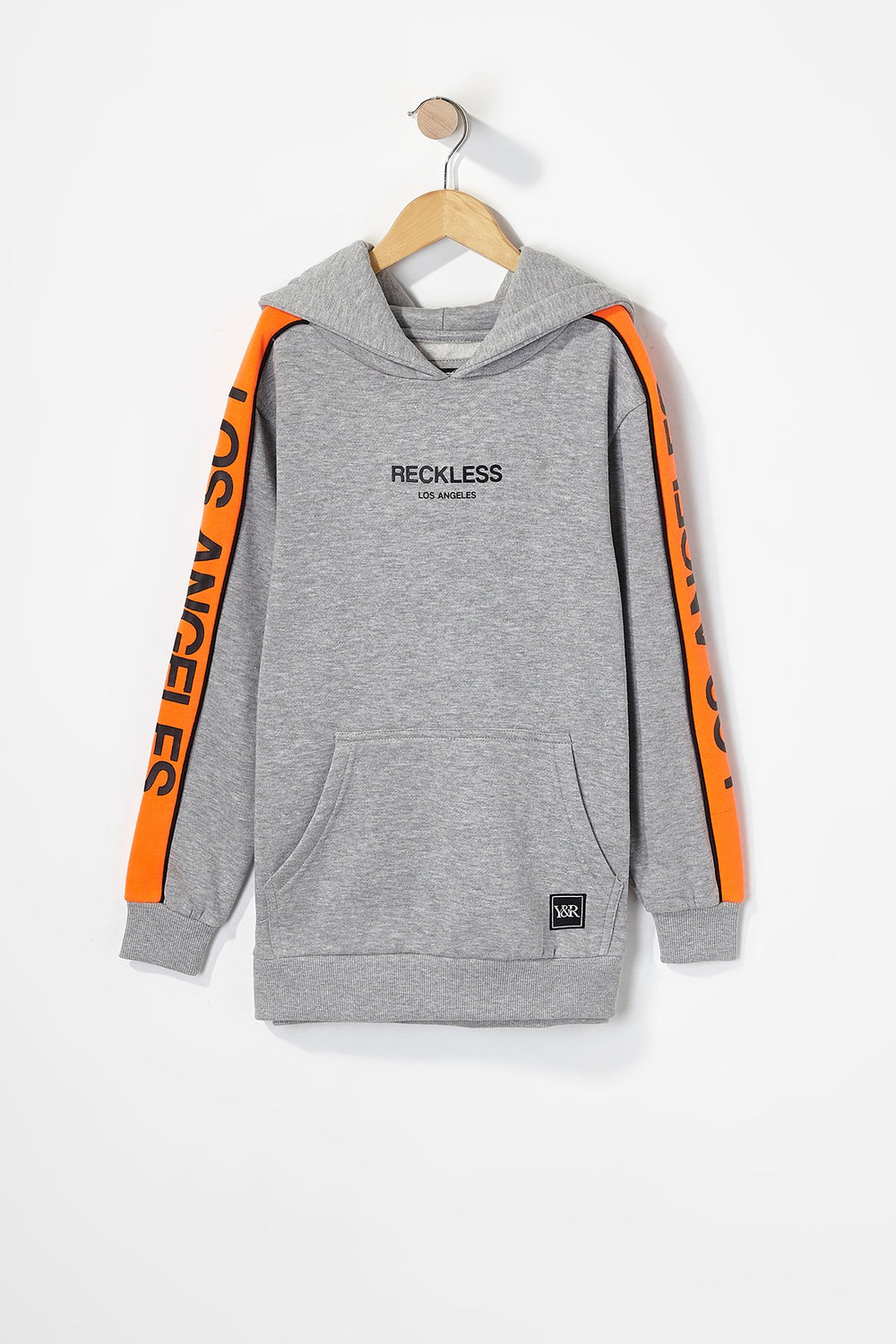 Young & Reckless Boys LA Neon Side Tape Popover Hoodie Heather Grey