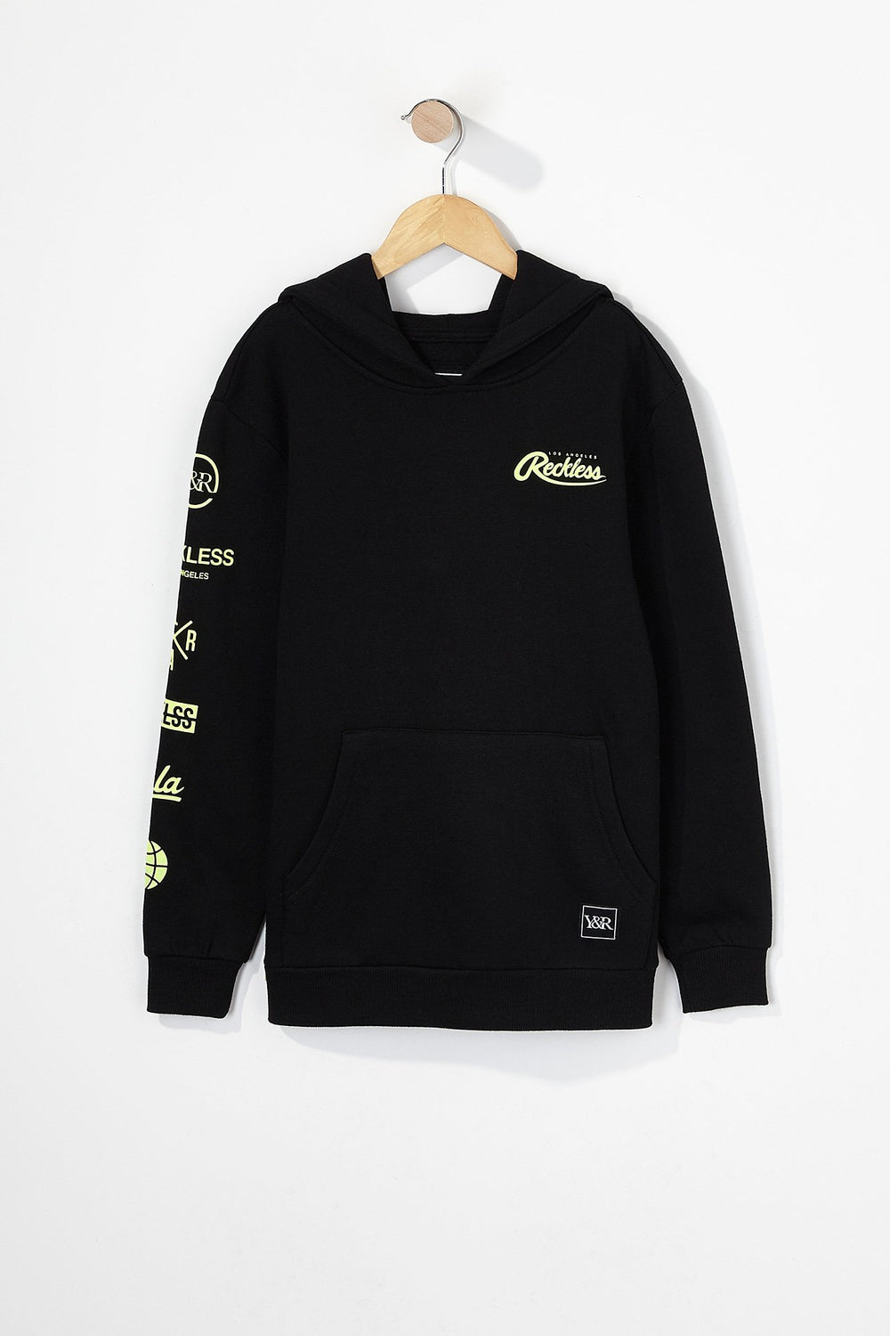 Young & Reckless Boys Embroidered Neon Logo Popover Hoodie Black