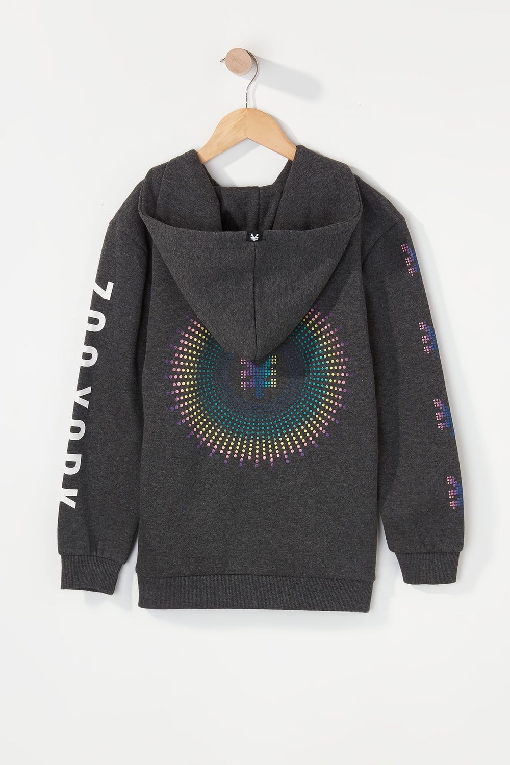 Zoo York Boys Rainbow Dots Hoodie Charcoal