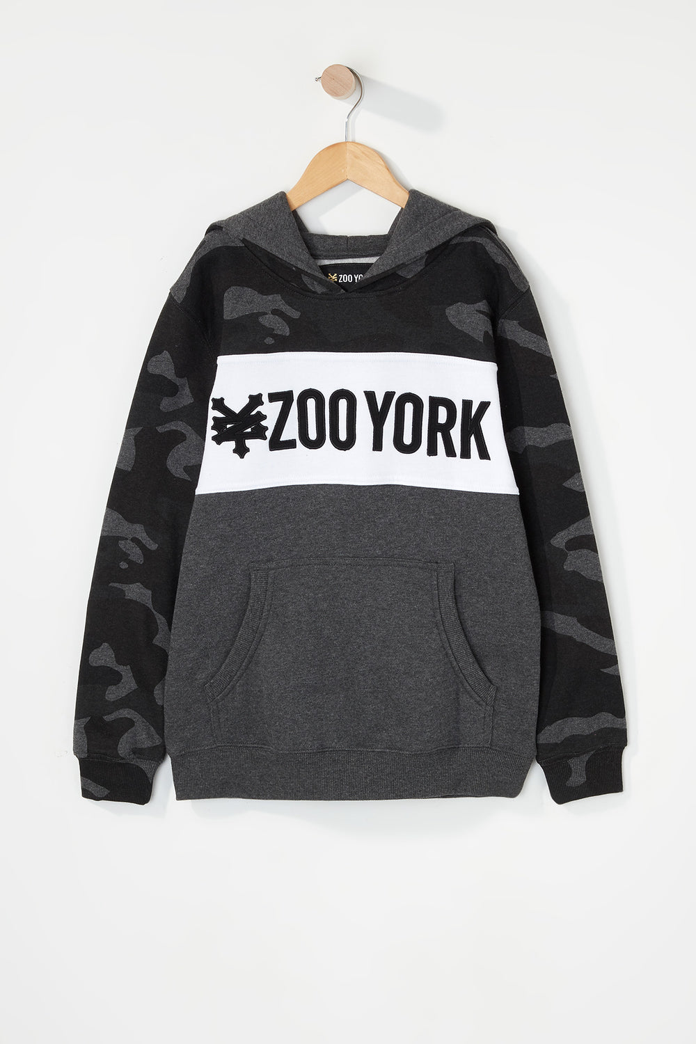 Zoo York Boys Camo Colour Block Hoodie Black with White