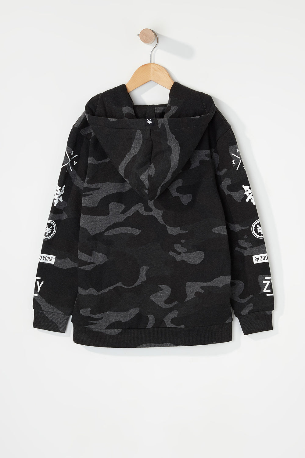 Zoo York Boys Camo Hoodie Black with White