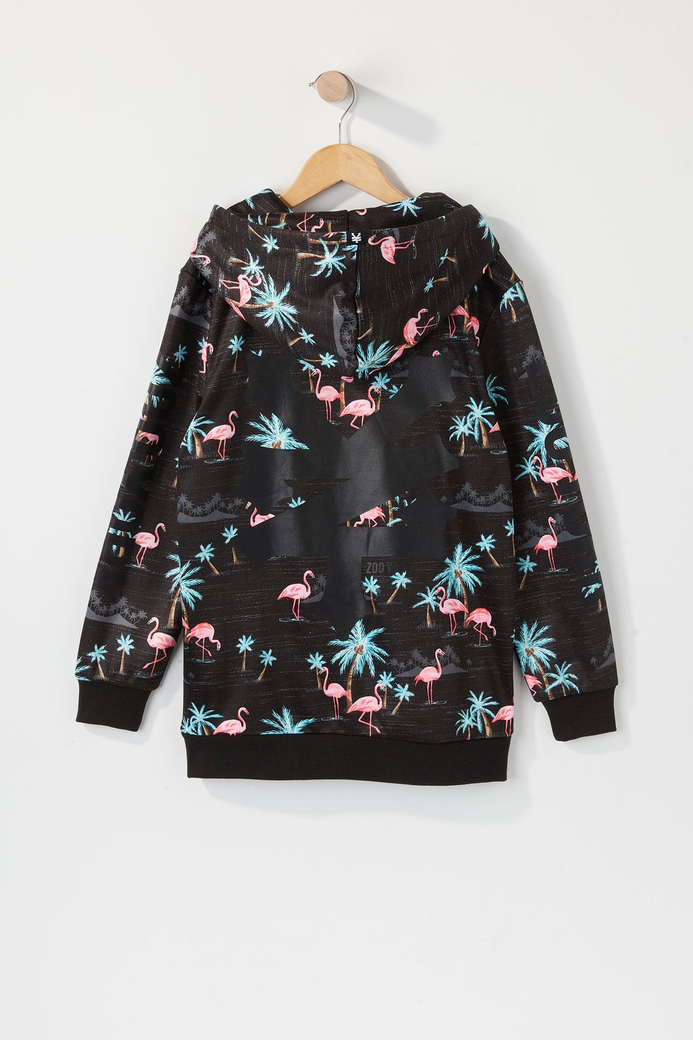 Zoo York Boys Pink Flamingo Print Hoodie Charcoal