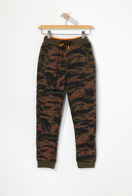 Young & Reckless Boys Tiger Camo And Neon Joggers